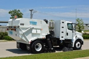 Atlantic Sweeping & Cleaning Inc, Maryland, Virginia, Washington D.C. Official Street Sweeping and Power Sweeping Services Provider with a Tymco 600 Regenerative Air Sweeper